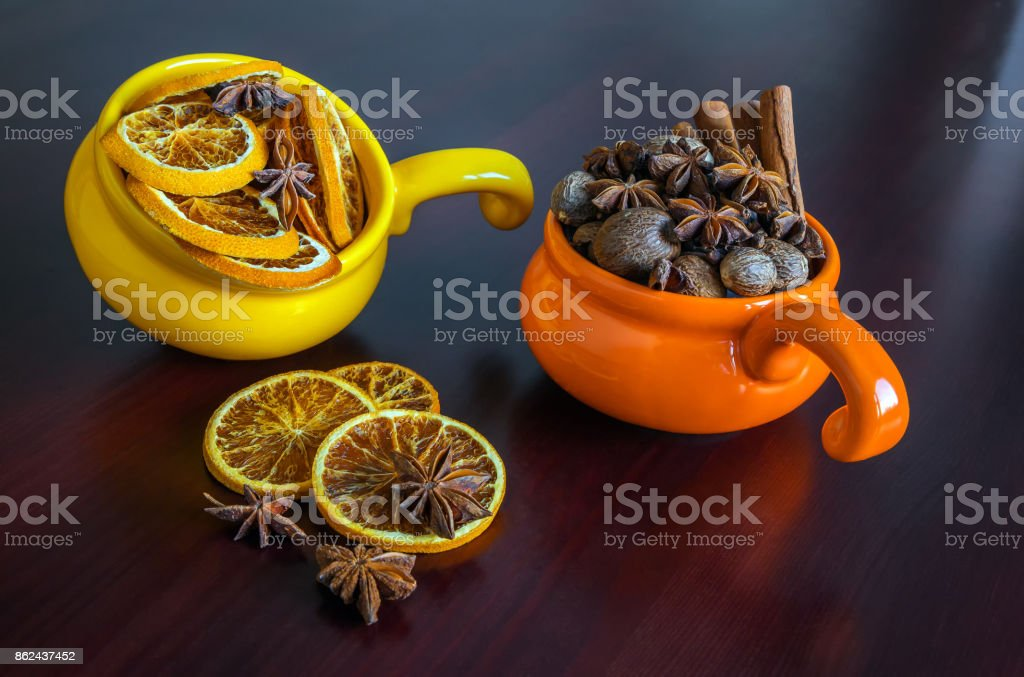 dried fruits in colored cups stock photo