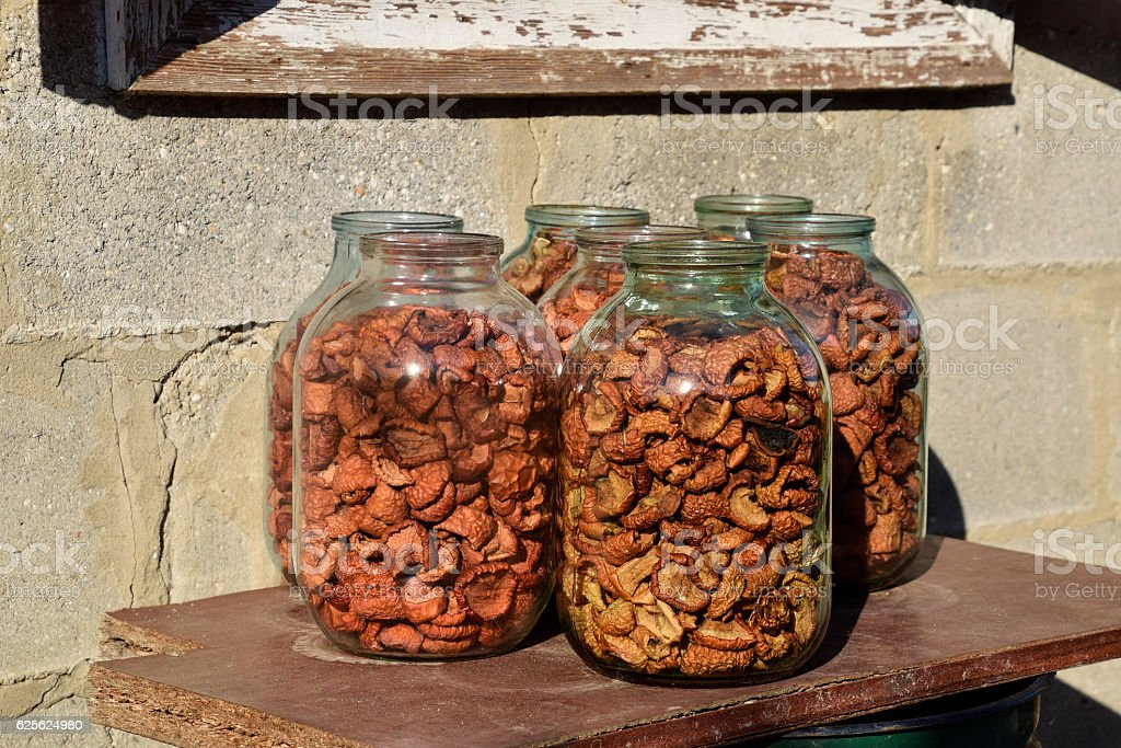 Dried fruits in the three-liter jar stock photo