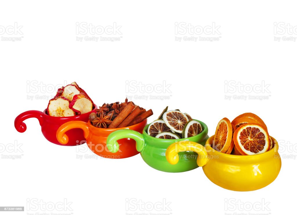 dried fruits on a white background stock photo