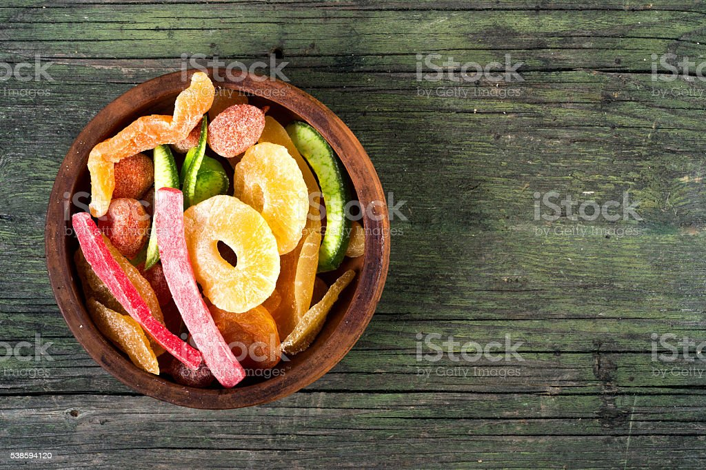 dried fruits on wooden background stock photo