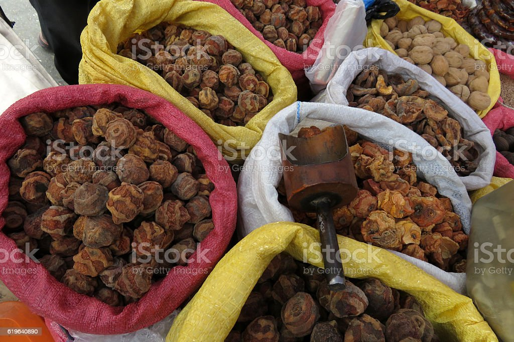 Dried fruits to make tea, Sucre, Bolivia stock photo
