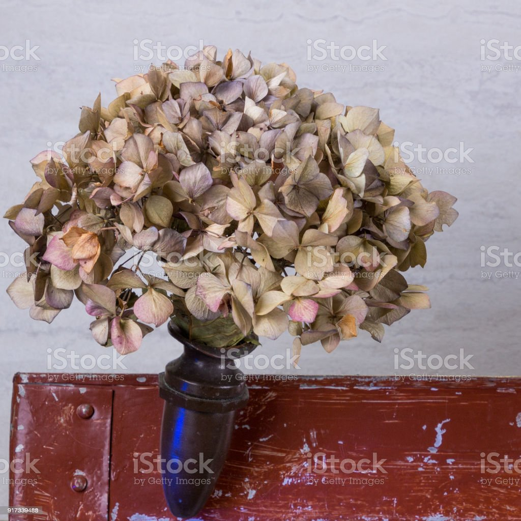 Dried Funeral Flowers In A Antique Brass Flower Vase Stock Photo