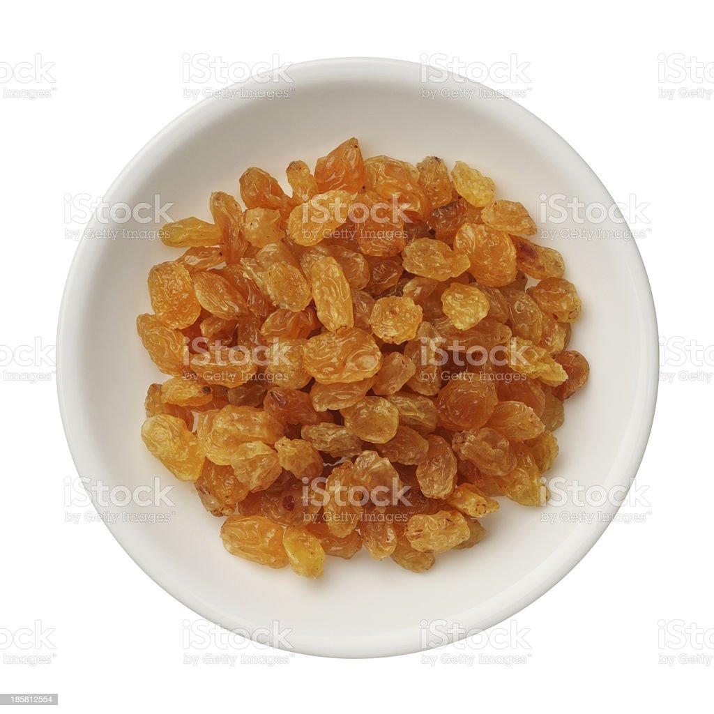 Dried golden raisins isolated on white stock photo