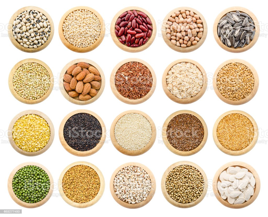 Dried grains, peas and rice collection stock photo