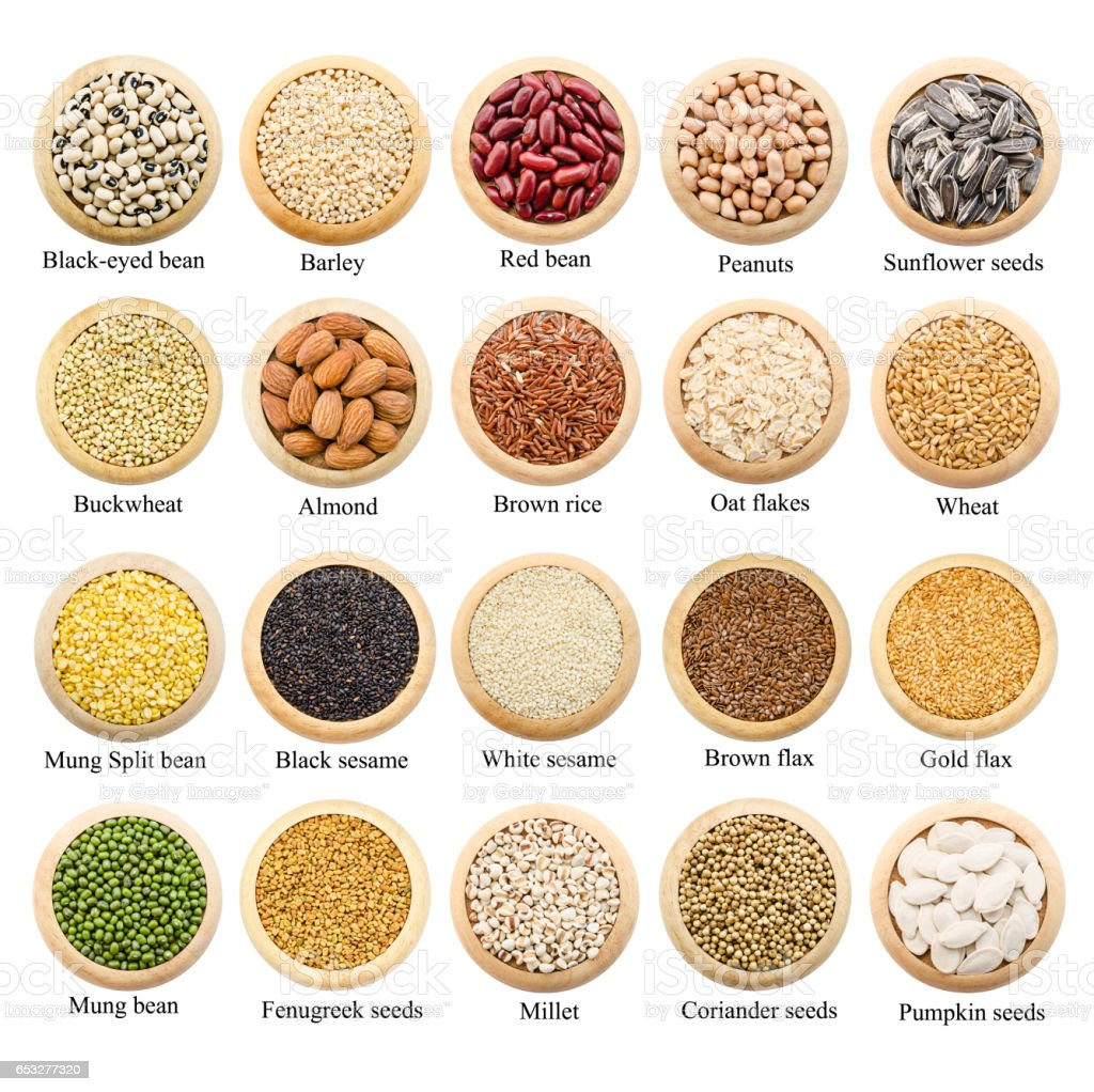 Dried grains, peas and rice collection with titles stock photo