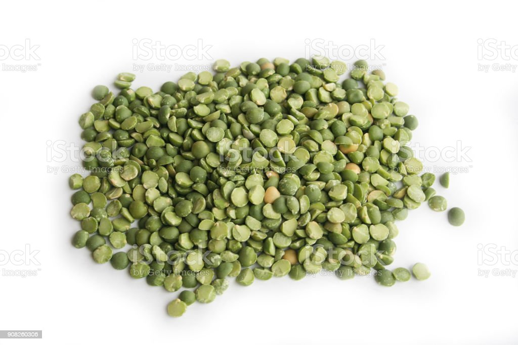 Dried green beans on white stock photo