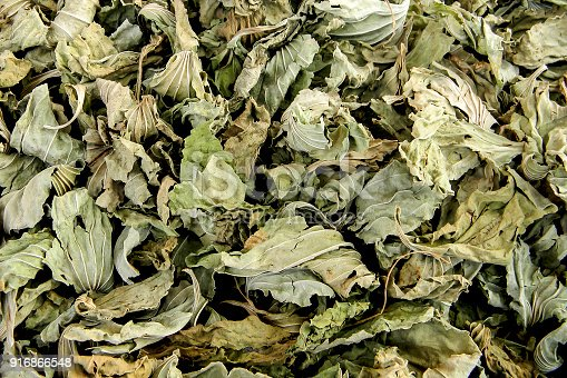 Close-up of dry green leaves used for tea or medicine in Azerbaijan