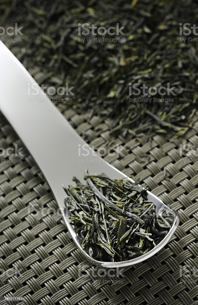 Dried green tea leaves royalty-free stock photo