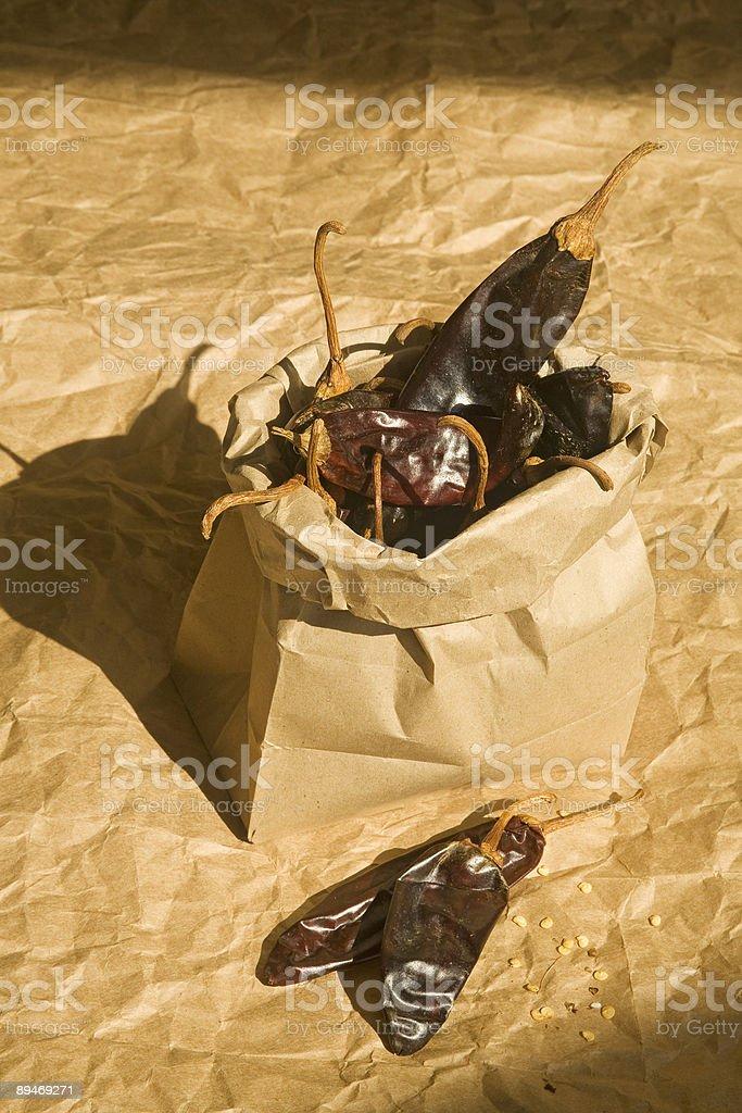 Dried Guajillo Chilis royalty-free stock photo