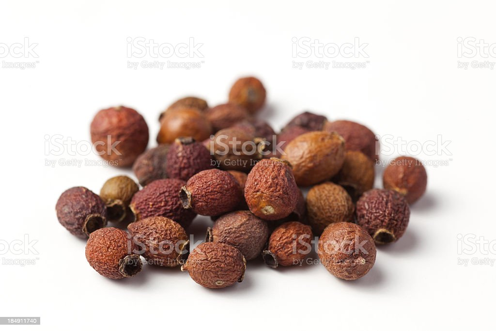 dried hawthorne berries stock photo