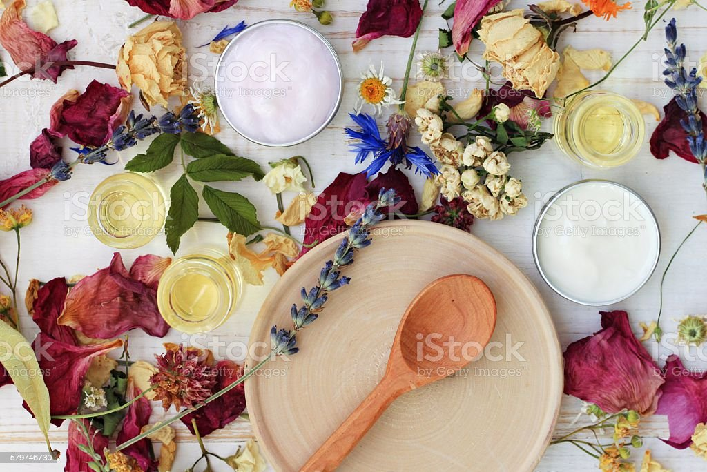 Dried herb mix and moisturizers stock photo