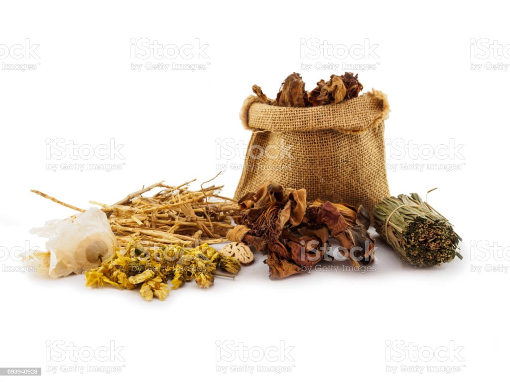 Dried herbal medicine  chinese of isolated stock photo