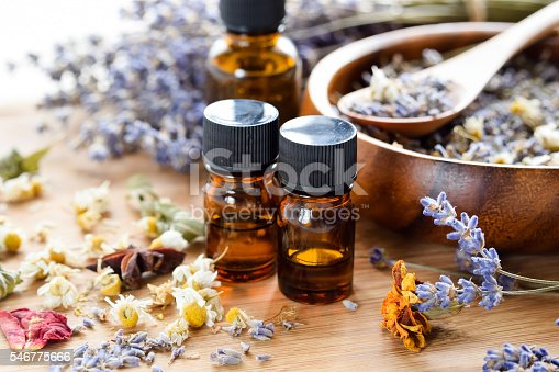 dried herbs with essential oils using lavender and chamomile