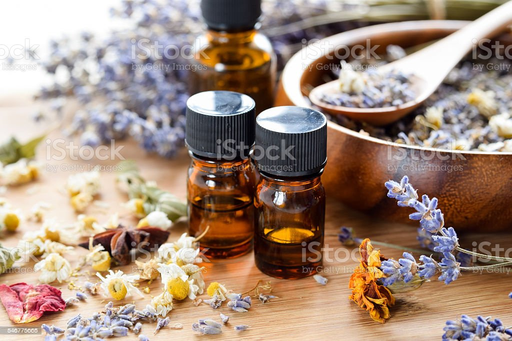dried herbs and essential oils - foto stock