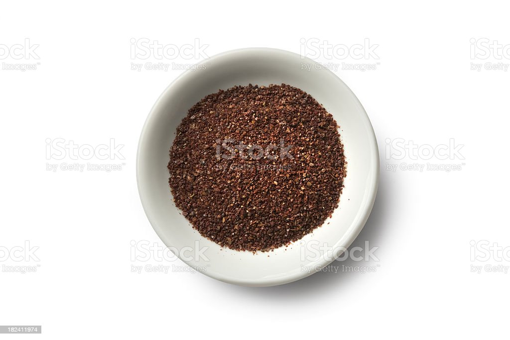 Dried Herbs and Spices: Sumac Powder royalty-free stock photo