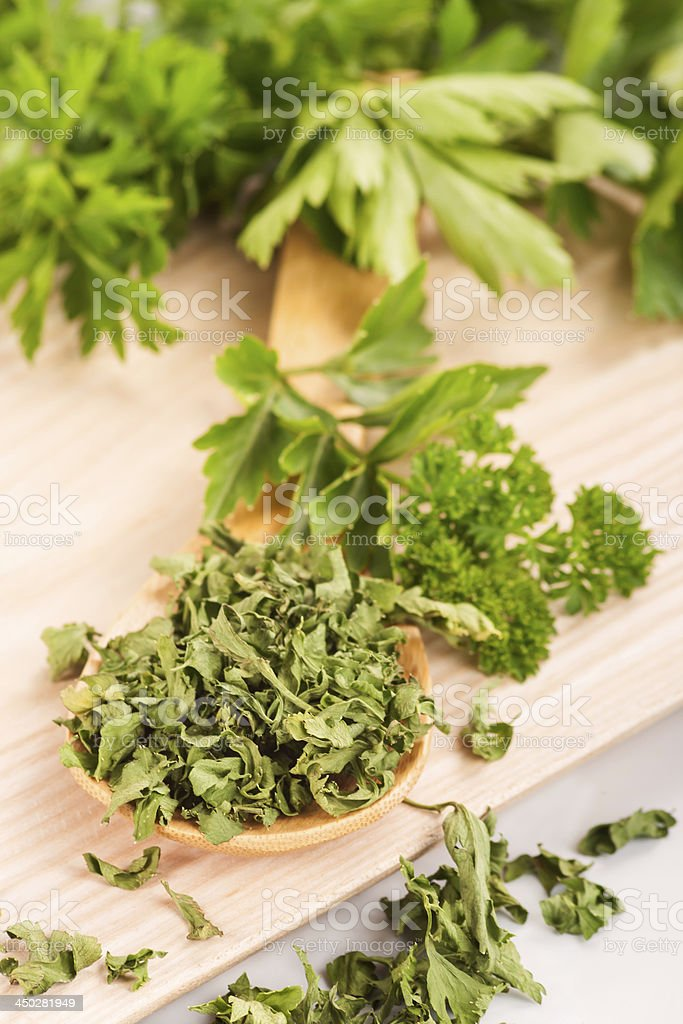 Dried herbs parsley and celery on a wooden spoon. royalty-free stock photo