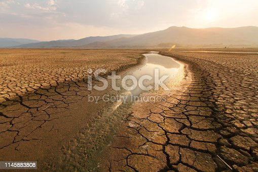 istock Dried lake and river on summer and Climate change concept. 1145883808