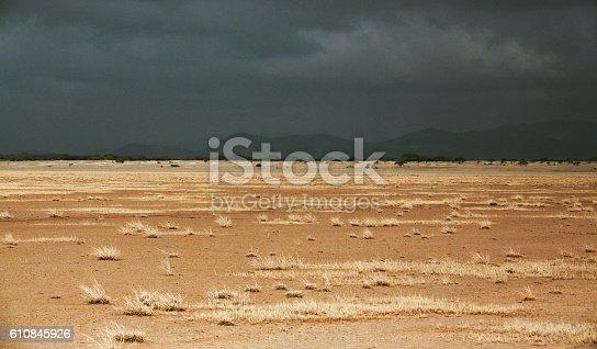 Deserted lake in Amboseli, Kenya before the thunderstorm