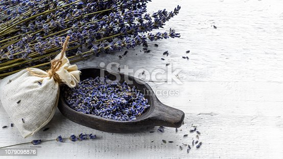 istock Dried lavender bunch and sachet filled with dried flowers 1079098876