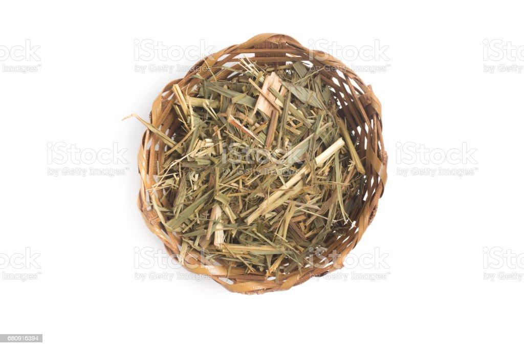 Dried Lemon Grass into a Basket royalty-free stock photo