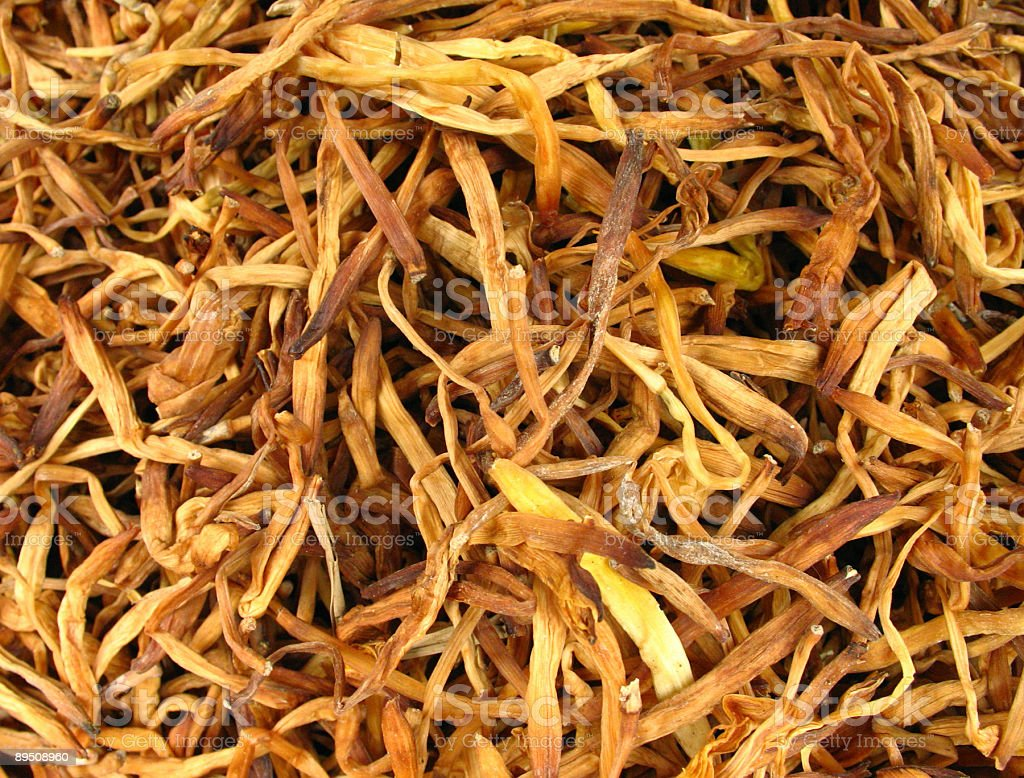 Dried lily buds stock photo