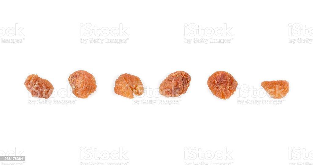 Dried longan on white background stock photo