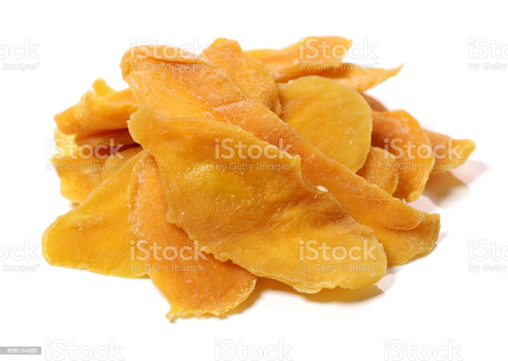 Dried mango in a white background stock photo