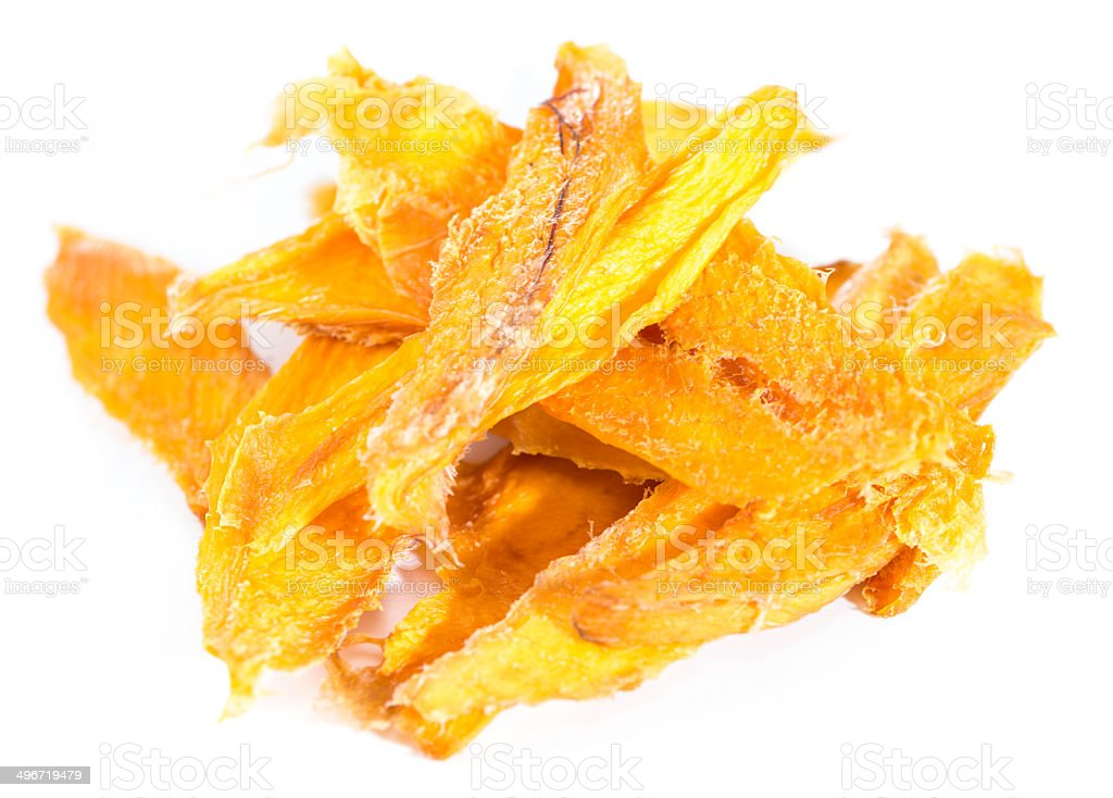Dried Mango (isolated on white) stock photo