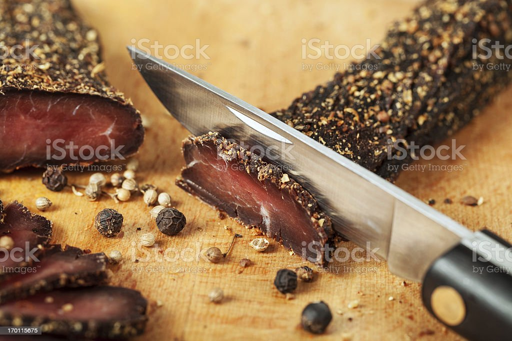 Dried meat stock photo