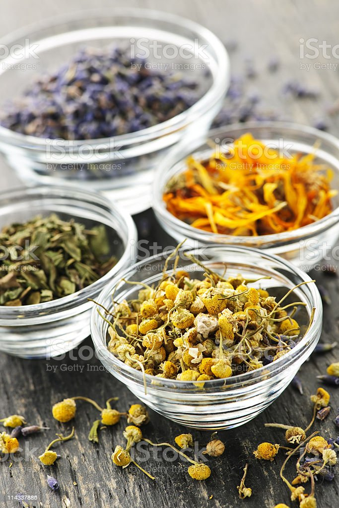 Dried medicinal herbs stock photo
