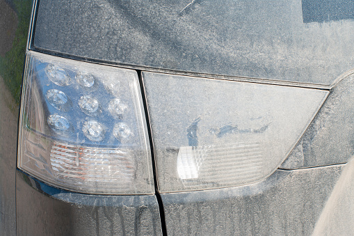dried mud on the rear light with led lamp.