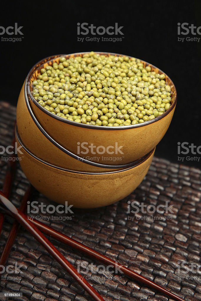 Dried Mung Beans in Bowl royalty-free stock photo