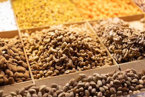 Dried nuts and seeds in the bazaar