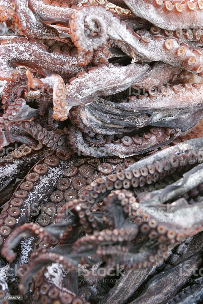 Dried octopus legs. royalty-free stock photo
