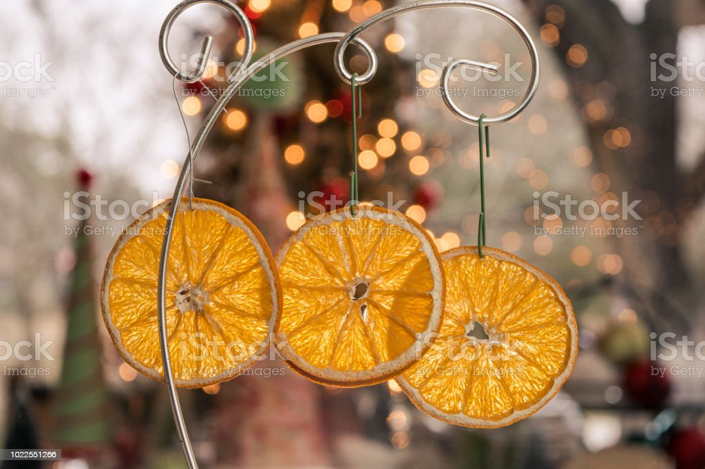 Dried Orange Slices Christmas Decorations Ready For Hanging Stock