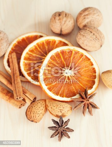 Dried orange slices with cinnamon and nuts