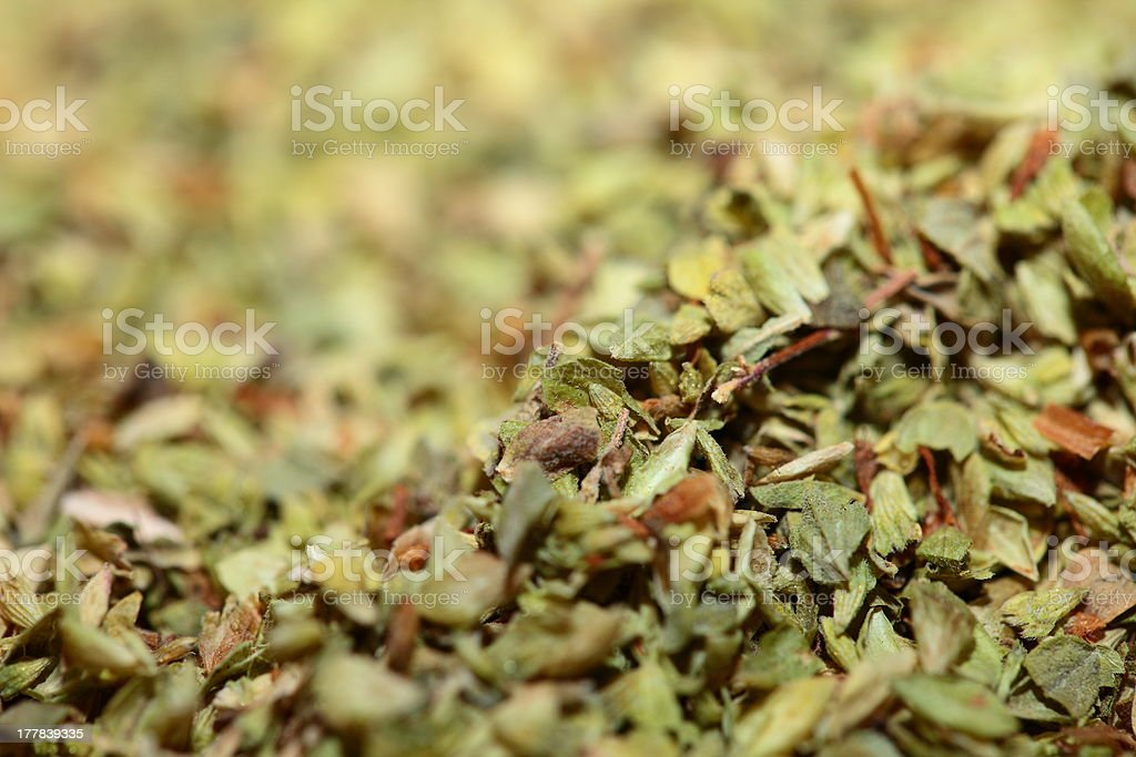 Dried oregano  as food background stock photo
