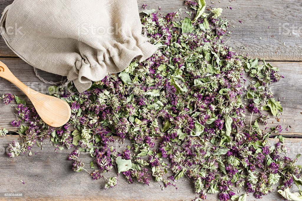 Dried oregano in a linen bag and teaspoon on a table stock photo