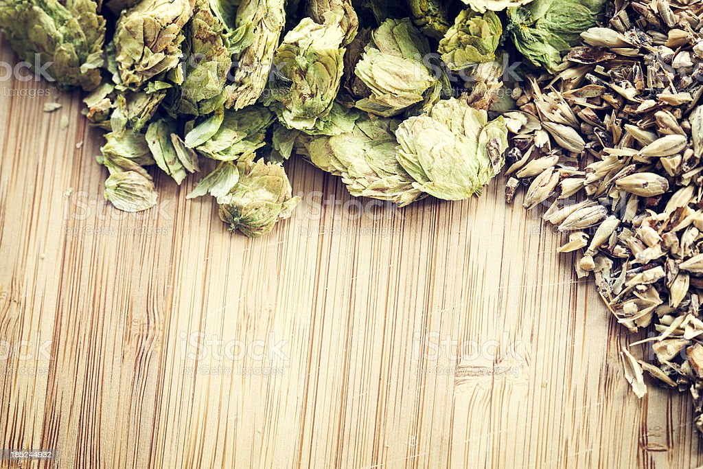 Dried Organic Cascade Hops and Malted Barley stock photo