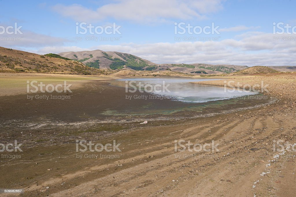 dried out reservoir stock photo