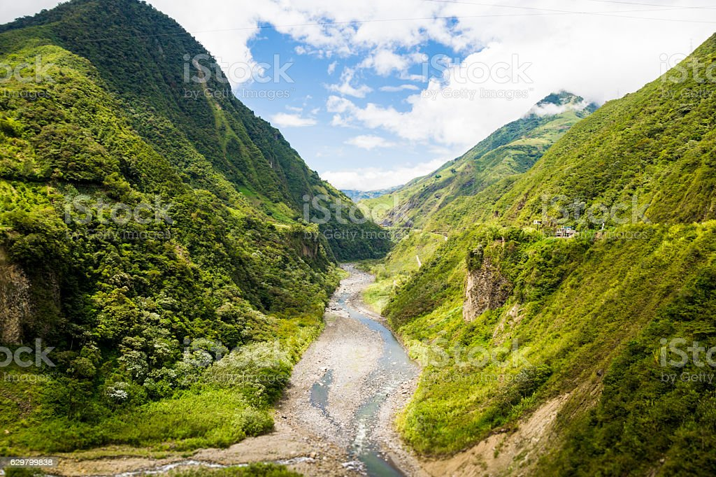 Dried out river between the Andean mountains stock photo