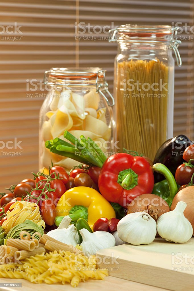 Dried Pasta and Vegetables royalty-free stock photo