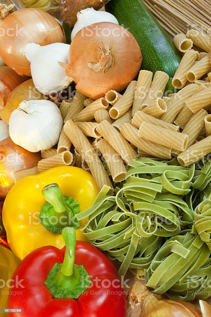 Dried Pasta & Fresh Vegetables royalty-free stock photo