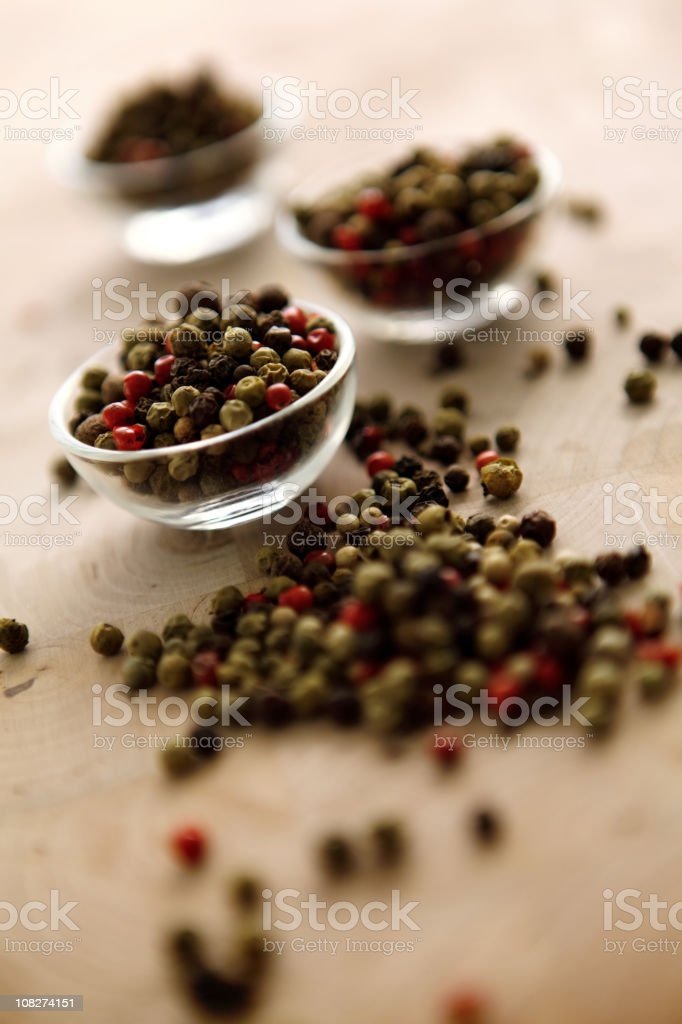 Dried Pepper Mix Seasoning in Glass Bowls royalty-free stock photo