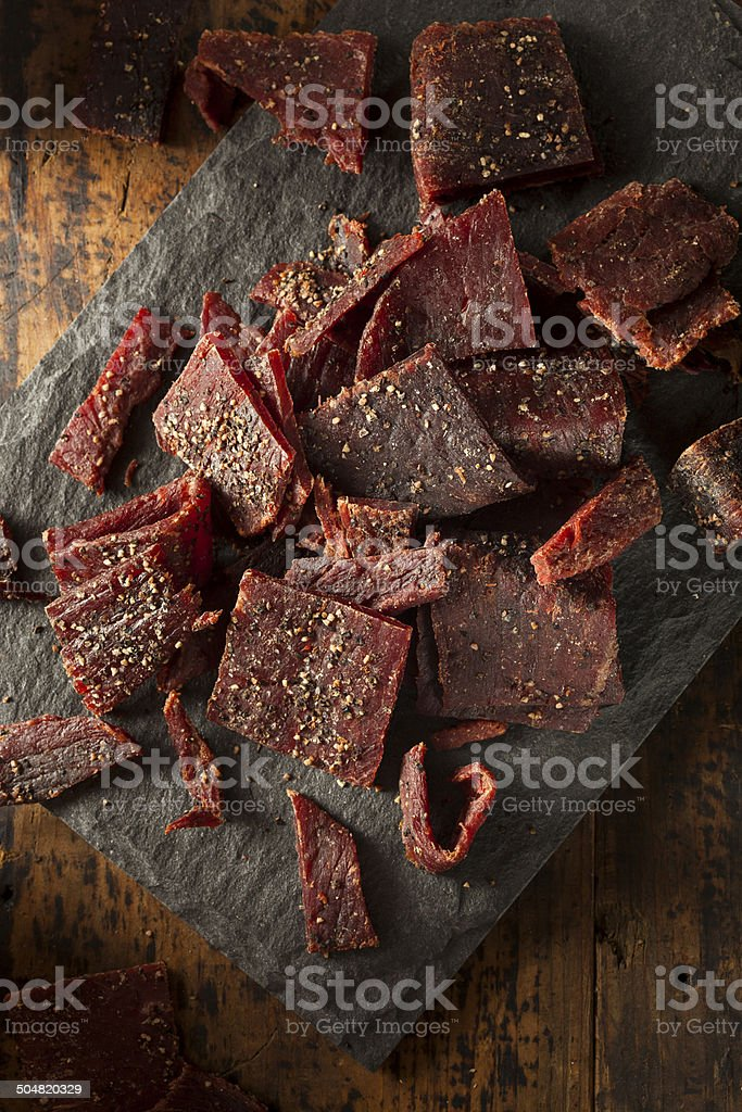 Dried Peppered Beef Jerky stock photo
