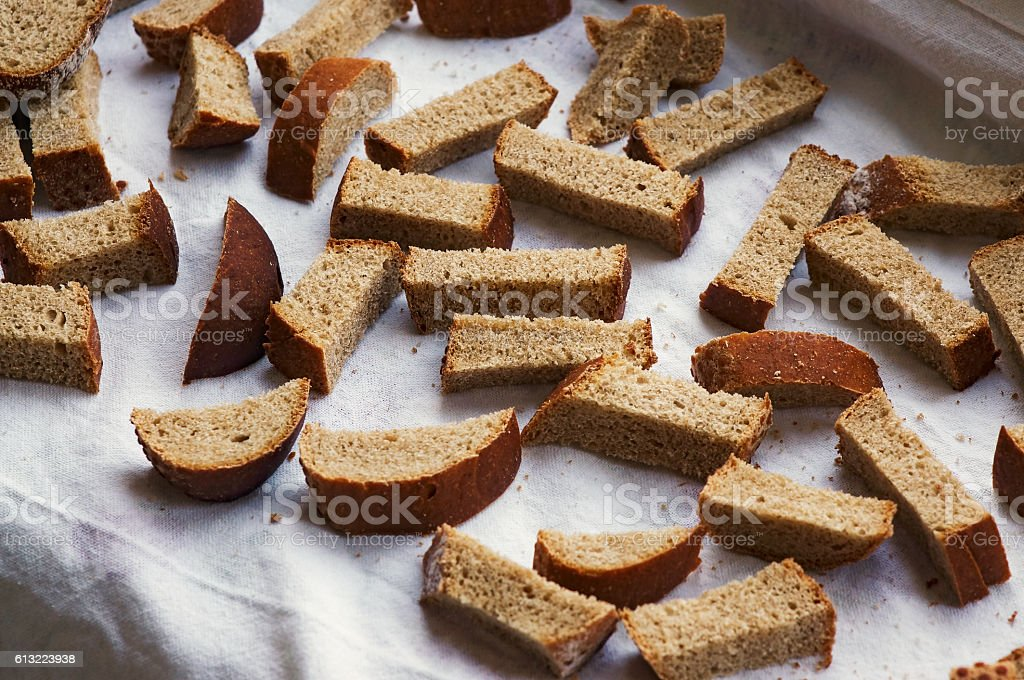 dried pieces of bread stock photo