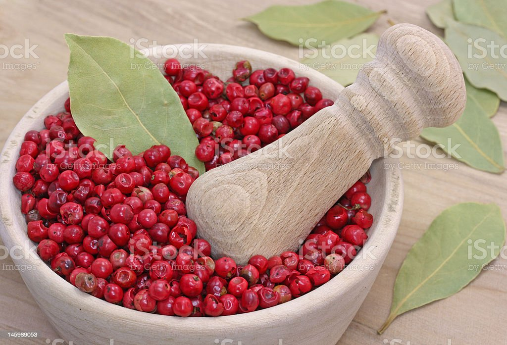 Dried pink pepper berries stock photo