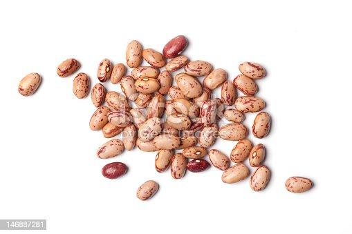 Pinto beans, Phaseolus vulgaris, on white background