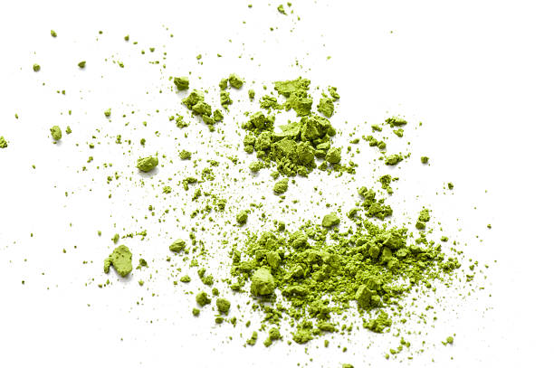 dried powder green tea stock photo
