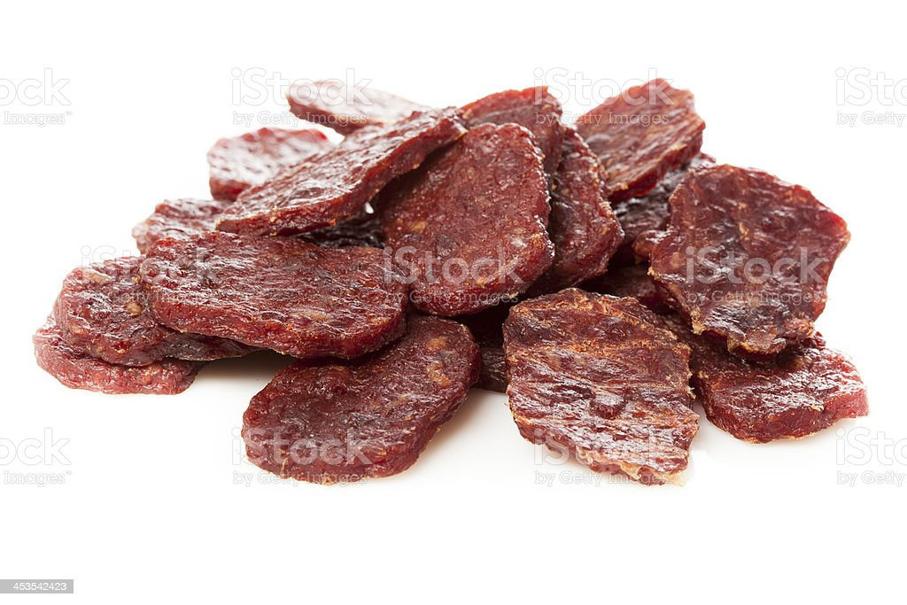 Dried Processed Beef Jerky stock photo